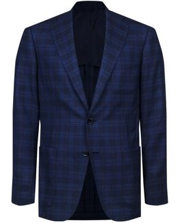 Checked Wool-silk Jacket