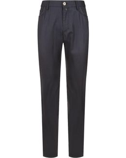Leather Piped Micro Check Tailored Trousers