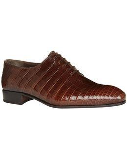 Wholecut Crocodile Oxford Shoes