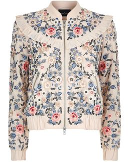 Whisper Floral Embroidered Bomber Jacket