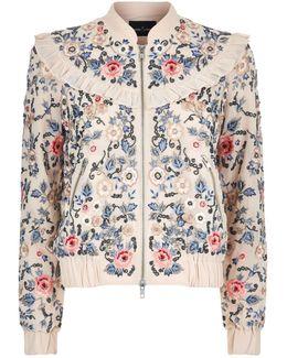 Whisper Floral Embroidered Bomber Jacket