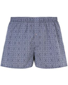 Woven Paisley Print & Block Colour Boxers (pack Of 2)