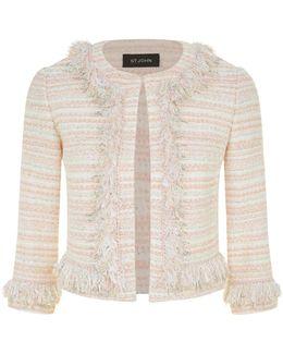 Pastel Tweed Fringe Jacket