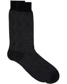 Montague Houndstooth Wool Mix Socks