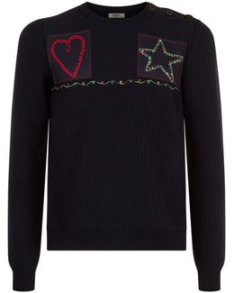 Embroidered Patch Wool Sweater