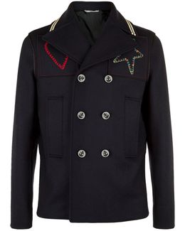 Embroidered Patch Pea Coat