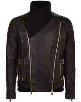 Oversized Collar Leather Jacket