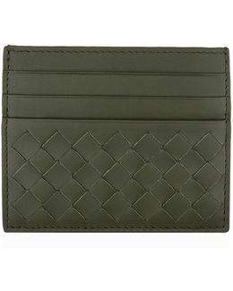 Intrecciato Weave Leather Card Holder