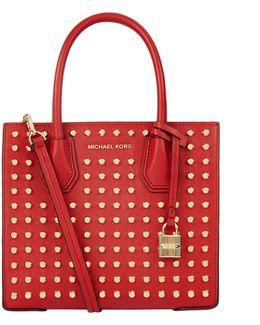 Medium Mercer Stud Leather Messenger Bag