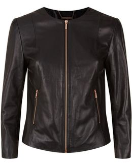 Fai Collarless Leather Jacket