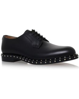 Studded Leather Lace-up Derby Shoes