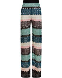 Wave Knit Wide Leg Trousers