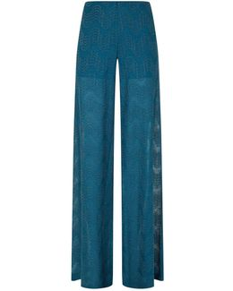 Lurex Wide Palazzo Trousers