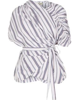 Striped Gathered Sleeve Wrap Top