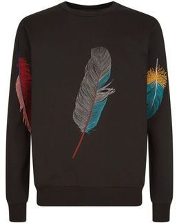Embroidered Feather Sweater