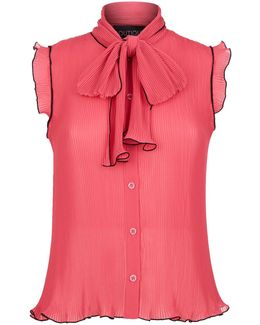 Crinkle Bow Tie Blouse