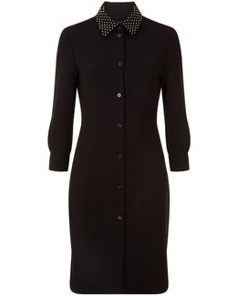 Embellished Crepe Shirt Dress
