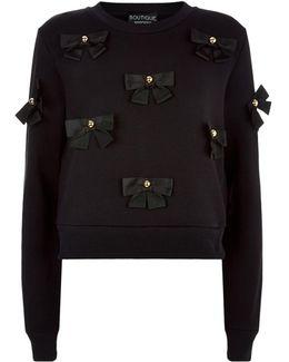 Bow Appliqu Sweatshirt