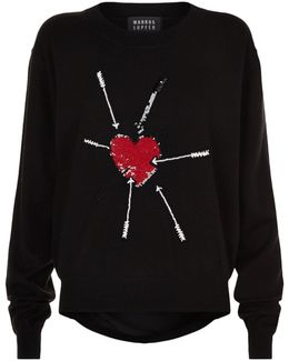 Heart Embellished Sweater