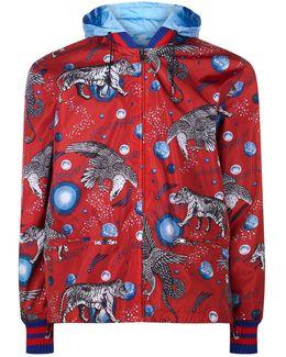 Animal Print Nylon Bomber Jacket