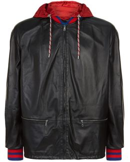Striped Cuff Leather Bomber Jacket