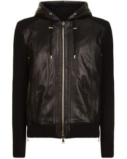 Contrast Leather Hoodie