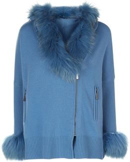 Fur Trim Zip Cardigan