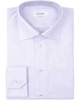 Diagonally Textured Twill Shirt