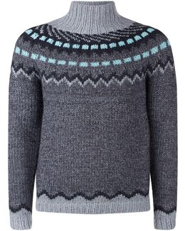 Funnel-neck Geometric-intarsia Sweater