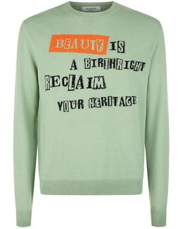 Newspaper Slogan Intarsia Sweater