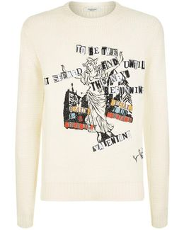 Embroidered Newspaper Slogan Sweater