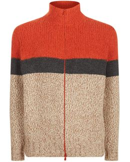 Colour Block Knit Zip-up Jumper