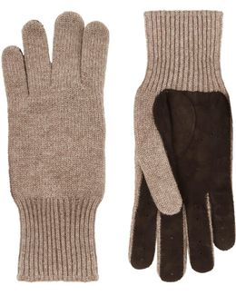 Suede Palm Cashmere Gloves