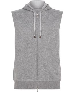 Cashmere-cotton Sleeveless Hoodie