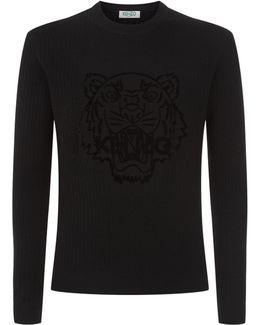 Ribbed Tiger Logo Sweater