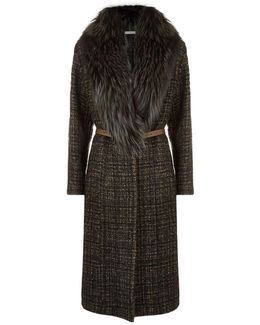 Tweed Fur Collar Coat