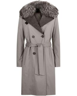 Fur Collar Quilted Interior Trench Coat