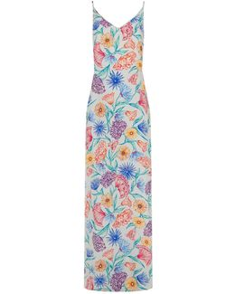 Isabella Floral Print Silk Maxi Dress