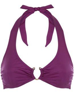 Yasmin Ruched Ring Detail Halterneck Bikini Top
