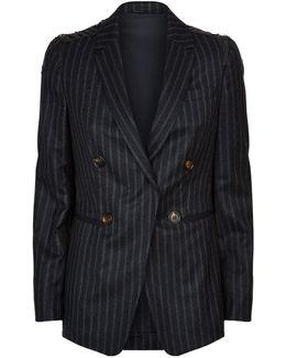 Embellished Epaulette Pinstripe Jacket