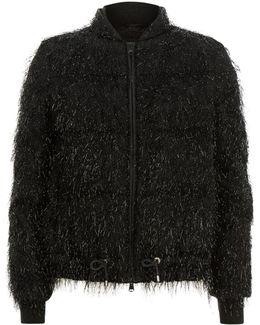 Glitter Fringe Puffer Jacket