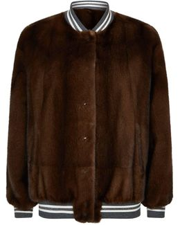 Reversible Mink And Leather Bomber Jacket
