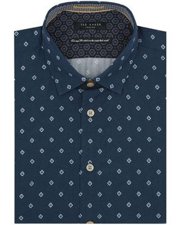 Munkee Diamond Print Cotton Shirt
