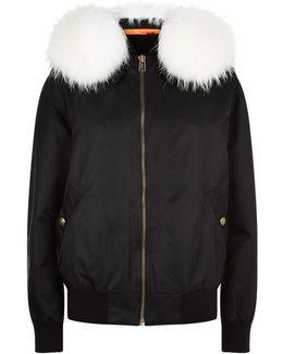 Fox Fur Hood Bomber Jacket