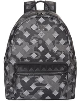 Camouflage And Diamond Print Backpack