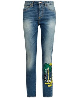 Yves Embroidered Cigarette Jeans