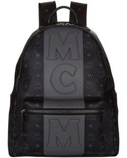 Striped Logo Motif Backpack