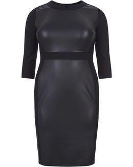 Faux Leather Panel Midi Dress