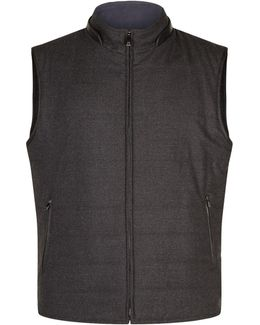 Reversible Leather Trim Wool Gilet
