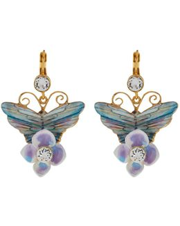 Butterfly And Hydrangea Earrings